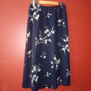 Talbots Petites Sz 8 Black Floral Skirt